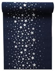 Chemin de table en coton étoile bleu et argenté métallisé 28 cm x 3 m