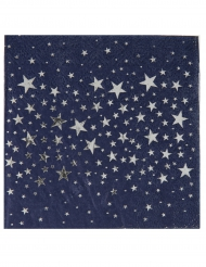 20 Petites serviettes en papier Etoile bleu et argent métallisé 25 x 25 cm