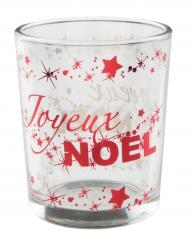 Photophore en verre Joyeux Noël rouge métallisé 6,7 cm