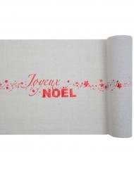 Chemin de table en coton Joyeux Noël blanc et rouge 28 cm x 3 m