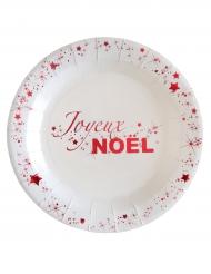 10 Assiettes en carton Joyeux Noël blanc et rouge métallisé 18 cm