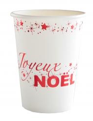 10 Gobelets en carton Joyeux Noël blanc et rouge 12 cl