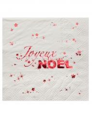 20 Petites serviettes en papier Joyeux Noël blanc et rouge 25 x 25 cm