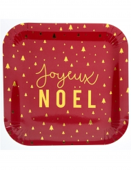 10 Assiettes en carton Joyeux Noël rouge et or 23 cm