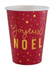 10 Gobelets en carton Joyeux Noël rouge et or 12 cl