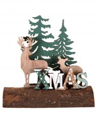 Décoration en bois Le cerf sur la buche 11 x 4 x 11 cm
