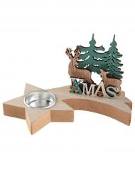 Porte bougie en bois et métal Cerf 18,5 x 11 x 2 cm