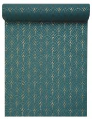 Chemin de table coton Art déco bleu canard et doré métallisé 28 cm x 3 m