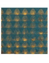 20 Petites serviettes en papier Art déco bleu canard et doré métallisé 25 x 25 cm