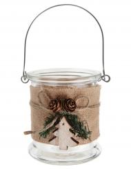 Pot en verre avec jute Noël 8,5 x 10 cm