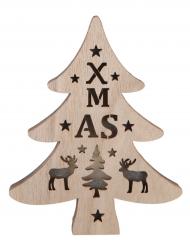 Sapin lumineux XMAS en bois naturel 12 x 15 cm