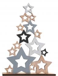 Sapin étoiles en bois multicolore 14,5 x 4 x 18,5 cm