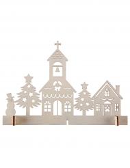 Décoration Le Cœur du Village en bois naturel 20 x 13 cm