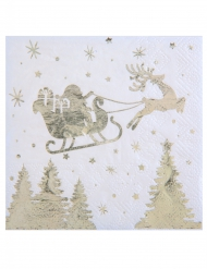 20 Petites serviettes en papier Traîneau du Père Noël blanc et or 25 x 25 cm