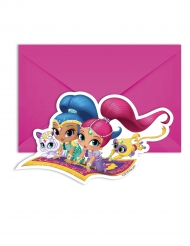 6 Cartes d'invitations et enveloppes Shimmer and Shine™ 14 x 9 cm