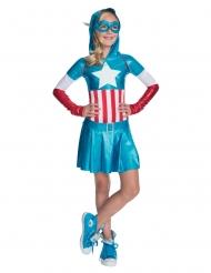 Déguisement métallique Captain America™ fille
