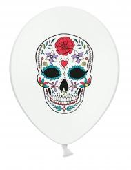6 Ballons en latex Dia de los Muertos blancs 30 cm