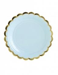 6 Petites assiettes en carton bleu ciel et dorure 18 cm