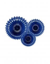 3 Rosaces décoratives en papier bleu marine 20 à 30 cm