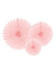 3 Rosaces en papier rose clair 20, 30 et 40 cm