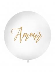 Ballon géant en latex Amour blanc et doré 1 m
