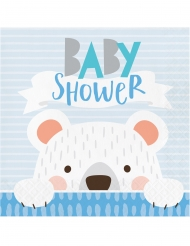 16 Serviettes en papier Baby Shower Petit Ours Gris 33 x 33 cm