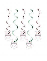 5 Suspensions spirale en carton Petit Lapin 76 et 99 cm