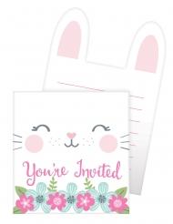 8 Cartons d'invitation en carton Petit Lapin blancs 15,2 x 10,2 cm