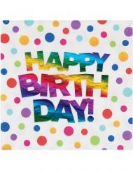 16 Serviettes en papier Happy Birthday Arc-en-ciel métallisées 33 x 33 cm
