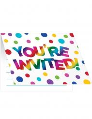8 Cartons d'invitation en carton Arc-en-ciel 10,2 x 12,7 cm