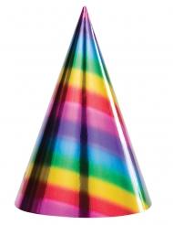 8 Chapeaux de fêtes en carton Arc-en-ciel 15,8 x 10,1 cm
