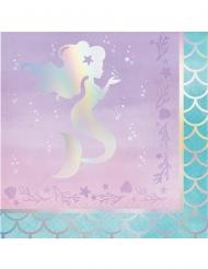 16 Serviettes en papier Jolie Sirène Iridescente 33 x 33 cm