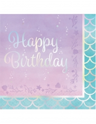 16 Serviettes en papier Happy Birthday Sirène Iridescent 33 x 33 cm