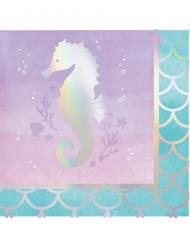16 Petites serviettes en papier Sirène Iridescente 25 x 25 cm
