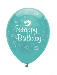 6 Ballons en latex Sirène Iridescente 30 cm