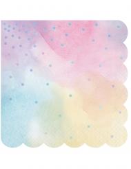 16 Serviettes en papier multicolores iridescentes 33 x 33 cm