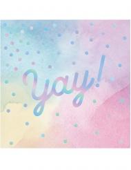 16 Petites serviettes en papier Yay ! multicolores iridescentes 25 x 25 cm