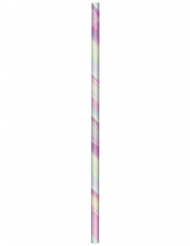 24 Pailles en carton iridescentes 19,6 cm