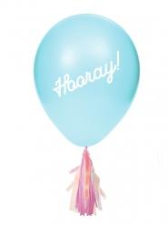 8 Ballons en latex avec tassels iridescentes et stickers 20,3 cm