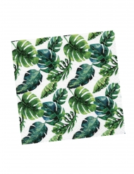 12 Serviettes en papier Tropicales blanches et vertes 33 x 33 cm