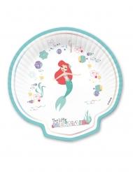 4 Assiettes en carton forme coquillage premium Ariel™ 24 x 24 cm