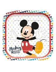 4 Assiettes en carton carré premium Mickey™ 24 x 24 cm
