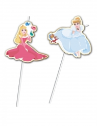 6 Pailles flexibles médaillon premium Princesses Disney™