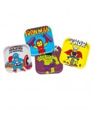 4 Assiettes en carton carré premium Avengers™ pop comic 24 x 24 cm