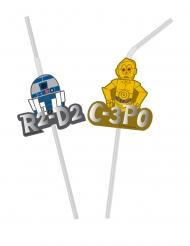 6 Pailles flexibles médaillons effet métallique premium Star Wars™