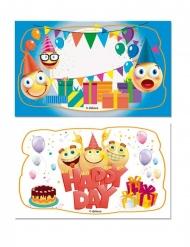 2 Cartes en sucre Joyeux Anniversaire 10,4 x 6 cm 9 g