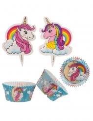 Kit pour 24 cupcakes Licorne avec toppers