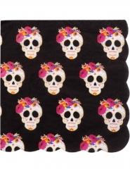 16 Serviettes en papier Calaveras noir et or 33 x 33 cm