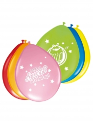 8 Ballons en latex Gâteau multicolores 30 cm