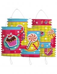 5 Lampions en papier cylindrique Gâteaux 16 cm